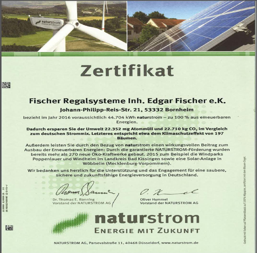 Fischer Regalsysteme zertifikat naturstrom fischer regalsysteme regalsysteme fischer